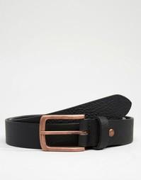 Кожаный ремень с пряжкой цвета розового золота ASOS - Черный