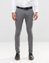 Серые супероблегающие брюки ASOS - Серый
