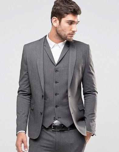 Серый пиджак суперузкого кроя ASOS - Мульти