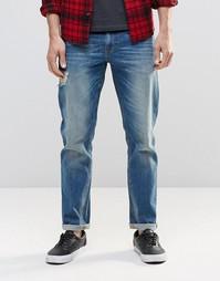 Синие эластичные джинсы узкого кроя с потертостями ASOS
