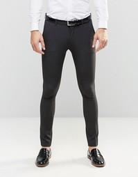 Темно-серые супероблегающие брюки ASOS - Угольный