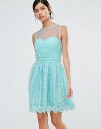 Кружевное короткое приталенное платье Little Mistress - Зеленый