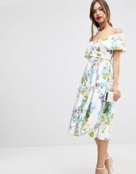 Платье миди для выпускного с открытыми плечами и цветочным принтом ASO Asos