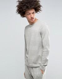 Джемпер в фактурную полоску с круглым вырезом ASOS - Серый