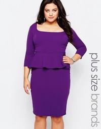 Платье-футляр с баской Goddiva Plus - Фиолетовый
