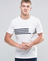 Футболка с полосками на груди и карманом Jack & Jones - Белый