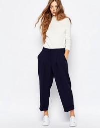 Темно-синие брюки с отворотами Sportmax Code - 005 темно-синий