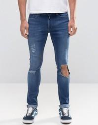 Синие джинсы с рваными коленками Kubban - Синий