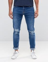 Рваные джинсы скинни Hoxton Denim - Синий