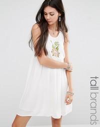 Платье без рукавов с цветочной вышивкой Glamorous Tall - Кремовый