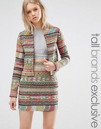 Куртка в полоску с ацтекским принтом Glamorous Tall - Мульти