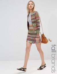 Мини-юбка в полоску с ацтекским узором Glamorous Tall - Мульти