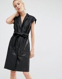 Кожаное платье-пальто на поясе Gestuz - Черный