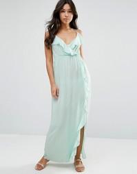 Пляжное платье макси с оборками и запахом ASOS - Мятный