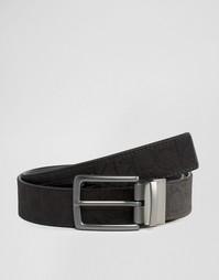 Двусторонний кожаный ремень с логотипом Calvin Klein CK Tom - Черный