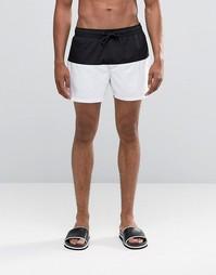 Короткие шорты для плавания с черно-белой вставкой ASOS - Черный