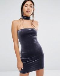 Облегающее платье с бархатным чокером Boohoo - Серый