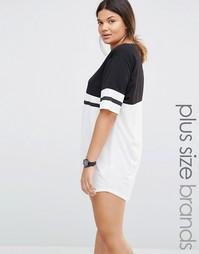Oversize платье‑футболка в университетском стиле Boohoo Plus - Черный