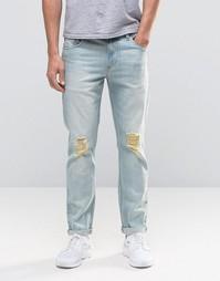 Синие узкие джинсы стретч с рваными коленками ASOS - Выбеленный синий