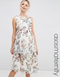Платье миди с запахом и цветочным принтом для беременных ASOS Maternit