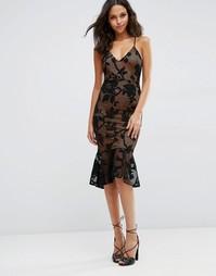 Кружевное платье миди с баской по краю ASOS - Черный