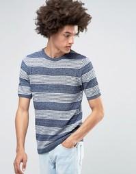Вязаная футболка в полоску ASOS - Синий