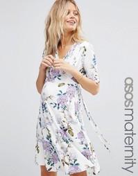 Чайное платье мини для беременных с винтажным цветочным принтом ASOS M