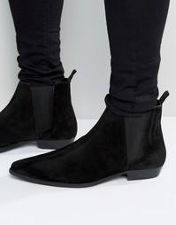 Черные замшевые ботинки челси с острым носком ASOS - Черный