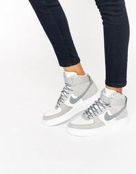 Высокие серые замшевые кроссовки Nike Air Force 1