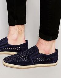Туфли-слипоны из темно-синей замши Dune - Синий
