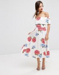 Платье миди для выпускного с открытыми плечами и цветами ASOS Premium