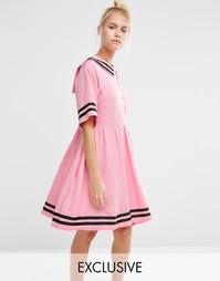 Платье в морском стиле с вышивкой Lazy Oaf - Розовый