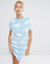 Трикотажное пушистое платье мини с облаками Lazy Oaf - Синий