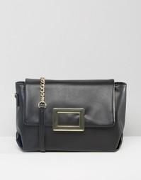 Мягкая сумка на плечо с металлической застежкой ASOS - Черный