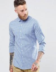 Темно-синяя стретчевая рубашка слим в клеточку с длинными рукавами ASO Asos
