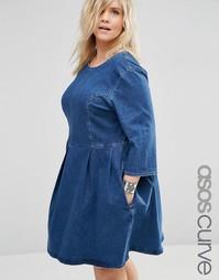 Джинсовое короткое приталенное платье ASOS CURVE - Синий