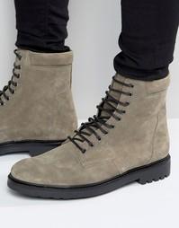 Серые замшевые ботинки в стиле милитари ASOS - Серый