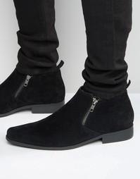 Черные ботинки челси на молнии из искусственной замши ASOS - Черный
