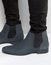 Ботинки челси из нубуковой кожи ASOS - Темно-синий