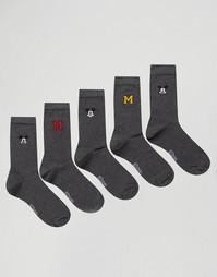 5 пар носков с вышитым Микки Маусом ASOS - Серый