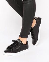 Черные кроссовки с леопардовой отделкой Le Coq Sportif Arthur Ashe