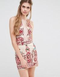 Платье без рукавов с вышивкой Endless Rose - Телесный комбинированный