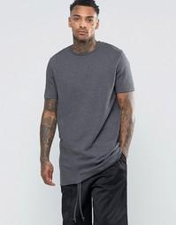 Удлиненная футболка из плотного трикотажа с драпировками по бокам ASOS