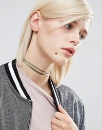 Ожерелье-чокер с двойной лентой ASOS - Хаки