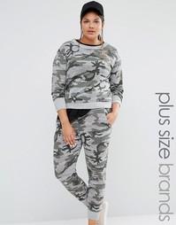 Джемпер в стиле casual с камуфляжным принтом Boohoo Plus - Серый
