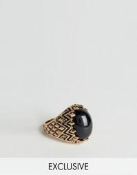 Золотистое кольцо‑коготь с черным камнем Reclaimed Vintage - Золотой