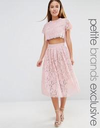 Короткое приталенное платье для выпускного 2 в 1 из кружева True Decad