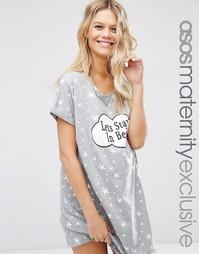 Ночная сорочка для беременных с принтом Lets Stay In Bed ASOS Materni