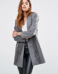 Шерстяное пальто с кисточками Religion - Серый