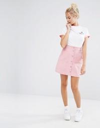 Вельветовая мини-юбка на пуговицах с карманами в форме сердца Lazy Oaf